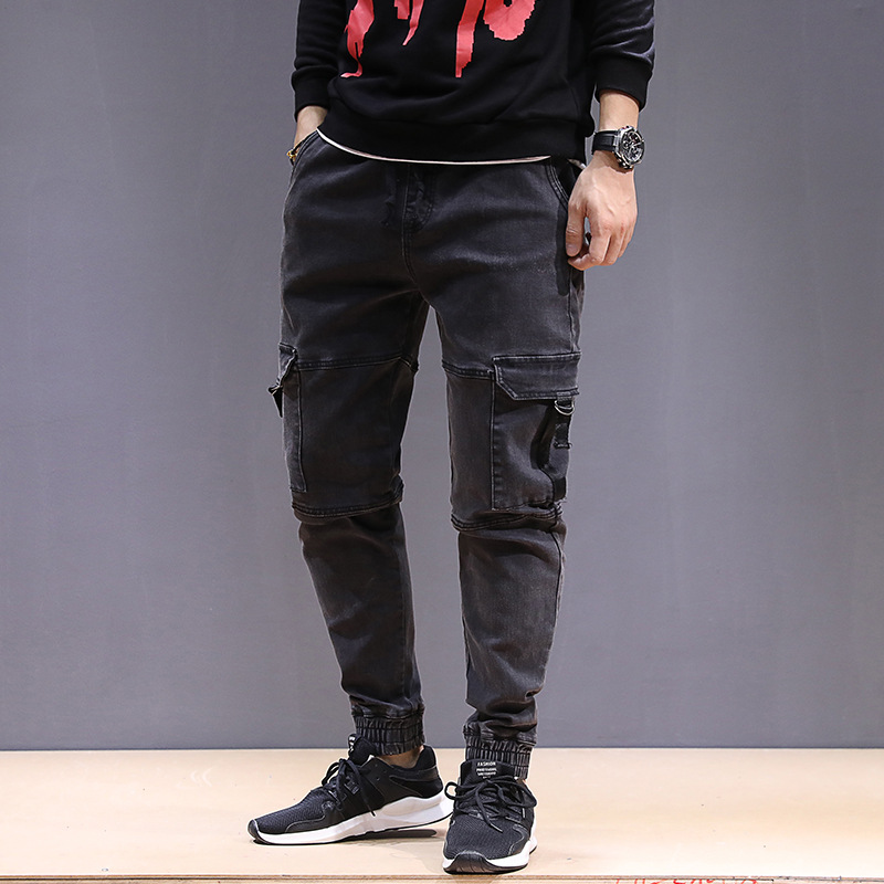 Autumn & Winter Thick Section Elasticity Jeans Men's Plus-sized Loose-Fit Skinny Fat Men's Trousers Elastic Waist Slimming Fashi