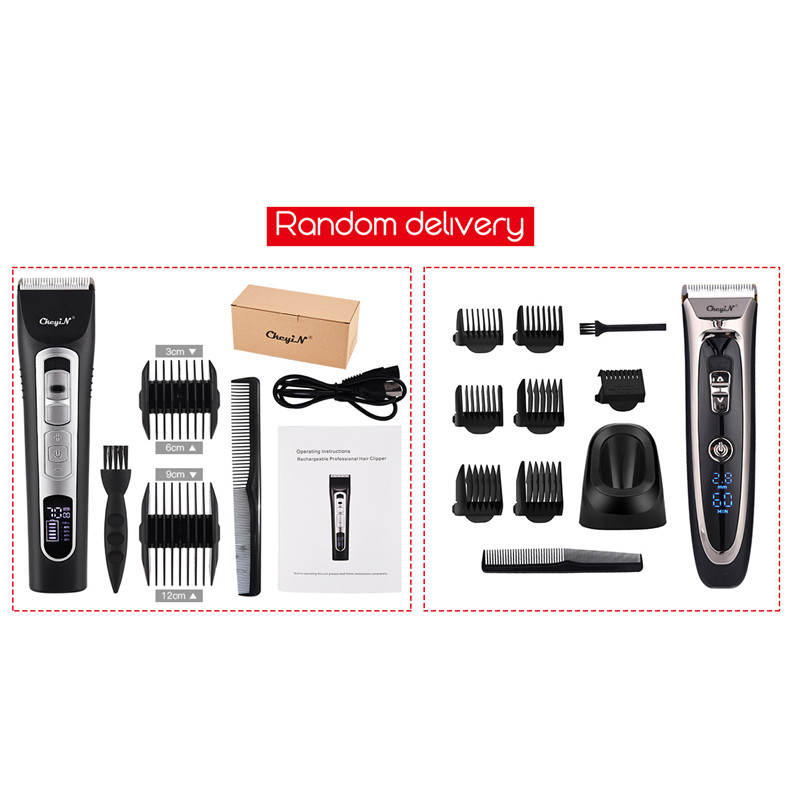 Купить с кэшбэком Professional Rchargeable LCD Digital Hair Trimmer Shaver Barber Cutting Mustache Clipper Cordless Men Hair Cutter Power Motor