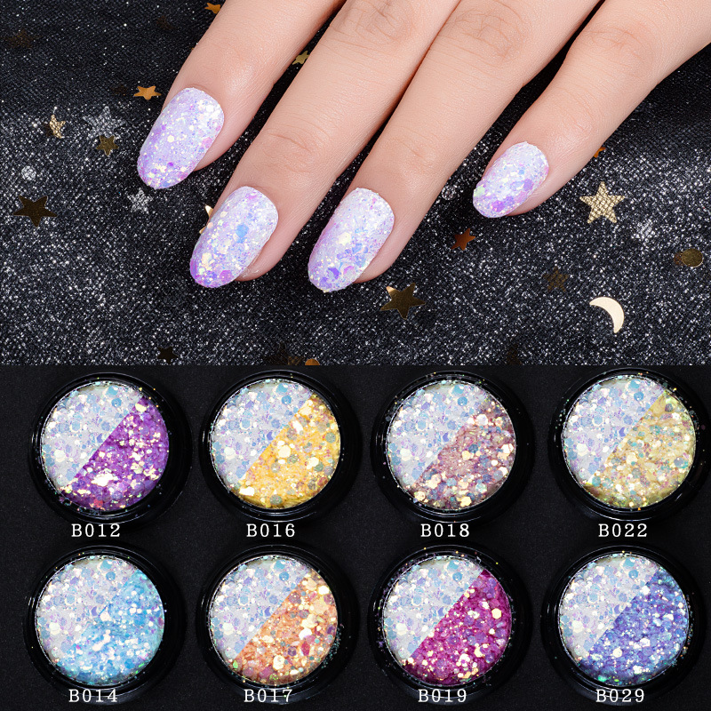 Manicure New Style Light Shimmering Powder Colorful Phototherapy Nail Glue Gradient Laser Sequin Color Changing Nail Sticker Mer