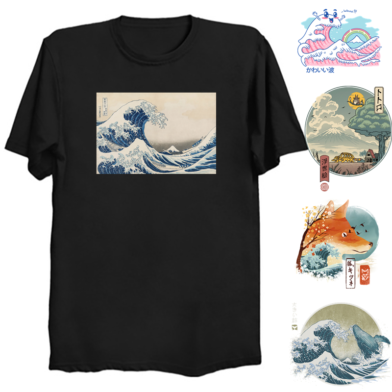 Футболка «The Great Wave»; Футболка с волнами катсушика Хокусай канагава; Футболка из 100% хлопка; Футболка «Ukiyo E»; Футболка «Great Wave of Kanagawa»