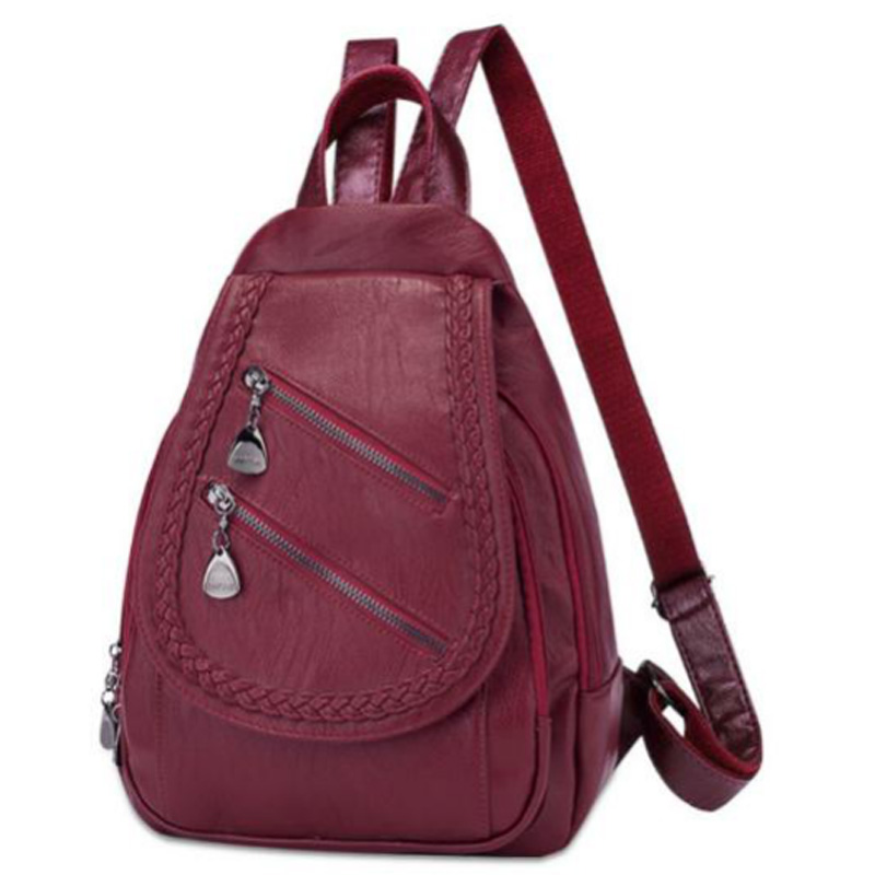 Fashion Backpack Women'S Solid Color Travel Backpack Korean Pu Soft Leather Fashion Casual Backpack