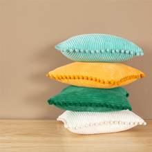 Topfinel Cushion Cover Dribble Soft Corduroy Pillow Case Pillowcase for Sofa Decorative Pillows Solid Color Lumbar Pillow