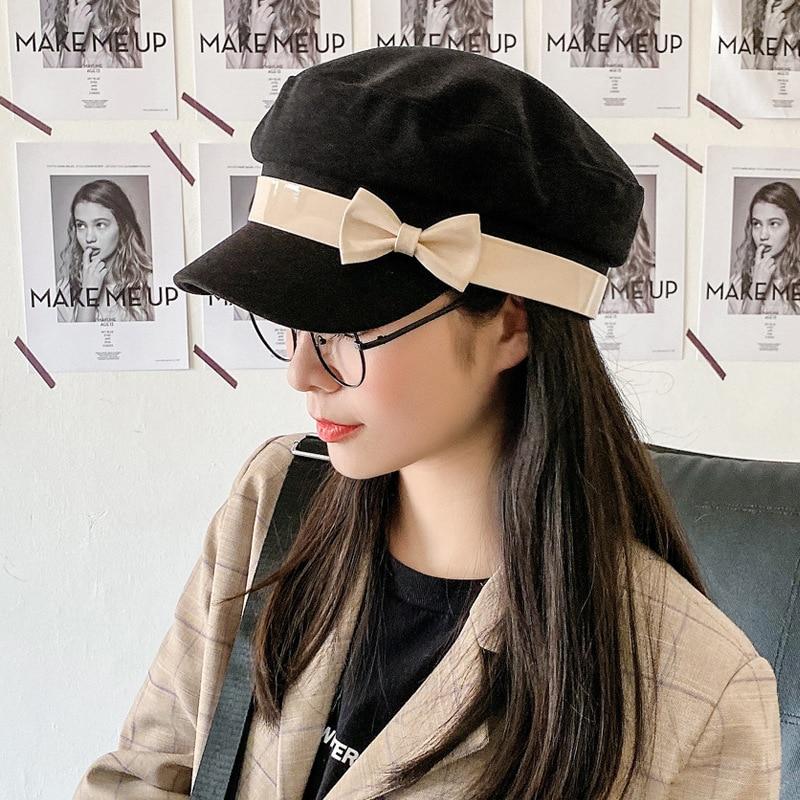 Small Fresh Octagonal Hats for Women Autumn and Winter Korean Version Cute Wild Bow Decoration Painter Hat Newsboy Cap
