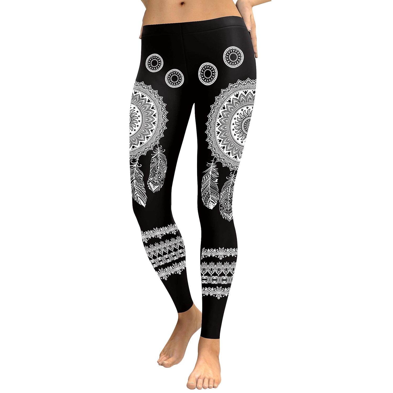 Women Mandala Flower Digital Print Fitness Leggins Pants Elastic Workout Plus Size Legging Trousers