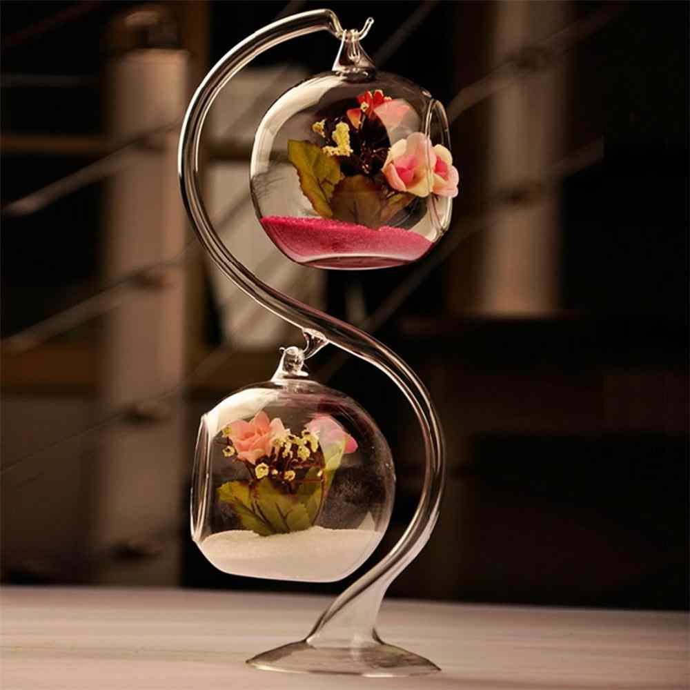 Brand Hanging Glass Creative Double Crystal  Hydroponic  flower pots planters christmas glass vase double layer glass ball