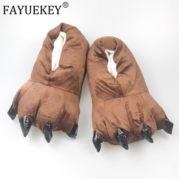 FAYUEKEY Winter Home Warm Paw Plush Slippers For Women Men Kids Cotton Soft Funny Animal Hallowmas Monster Claw Floor Shoes