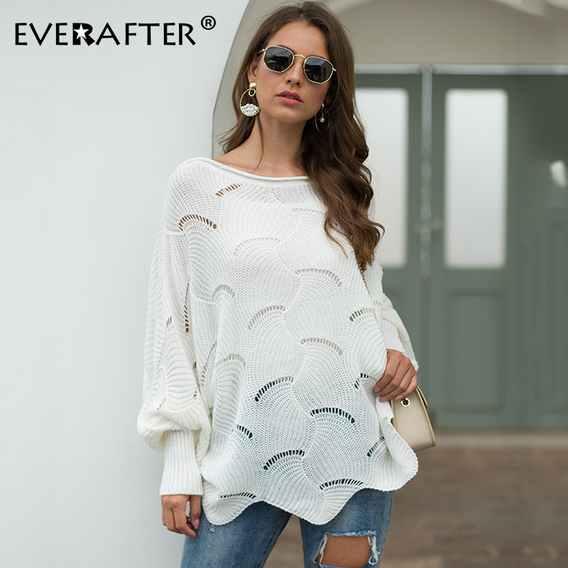 EVERAFTER O-neck Crohect Hollow Out Women Pullover Sweater Solid Loose Autumn Winter Casual Female Jumper Streetwear Female Tops