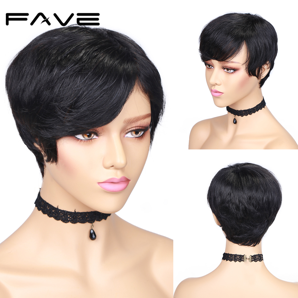 FAVE Brazilian Short Remy Human Hair Wig Straight Human Wig Natural Black Color For Black/White Women Stylish Capable Wigs