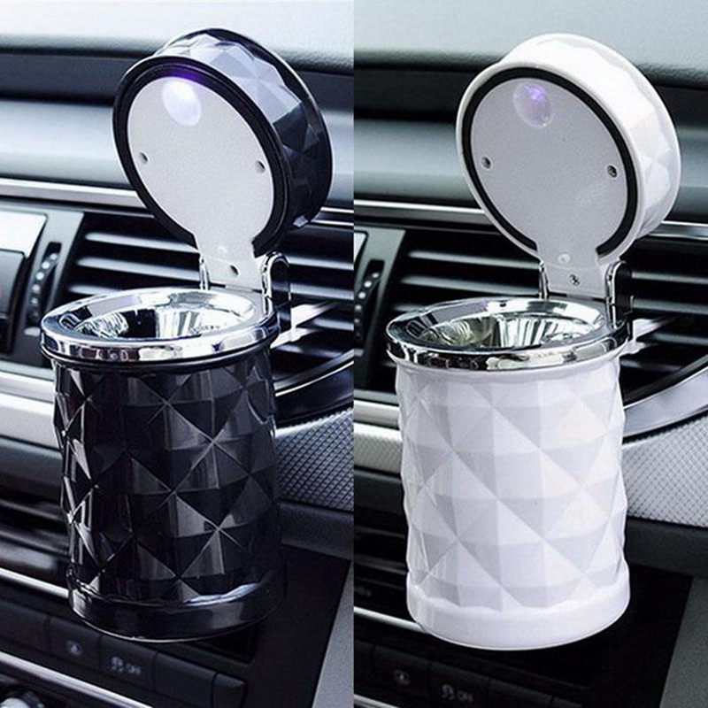 1PC Portable Auto Car Truck LED Cigarette Smoke Car Ashtray Blue LED Light Smokeless Ashtray Cigarette Holder Anti-slip Rubber