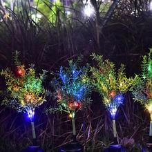 2pcs Xmas Tree Solar LED Lawn Lamp Spike IP65 Outdoor Garden Colorful Light Led Solar Stick Lights Dropshipping