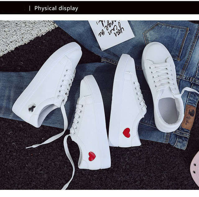 2019 Autumn Woman Shoes Fashion New Woman PU Leather Shoes Ladies Breathable Cute Heart Flats Casual Shoes White Sneakers 18