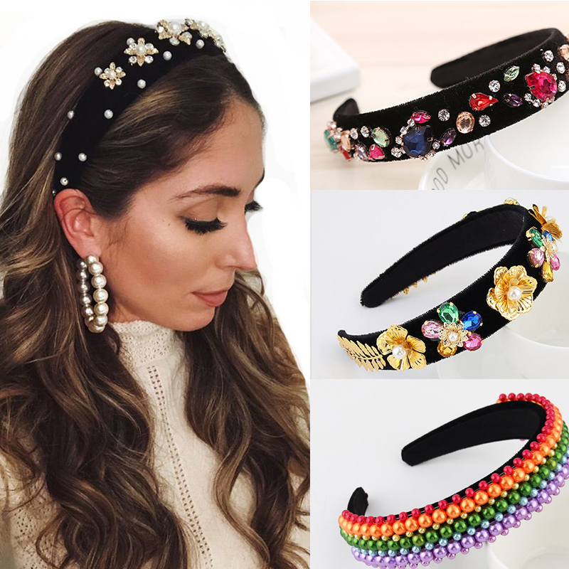 Retro Floral Rhinestone Headband Ladies Pearl Crystal Hairband For Girls Barlot Style Headress Wedding Hair Accessories
