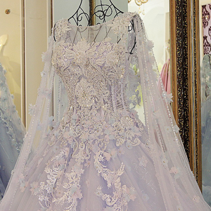 Image 5 - LS54770 New arrival long engagement dresses with long cape ball gown corset back long eveing gowns kleider lang elegant 2018