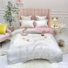 Pillowcase Bedding-Sets Duvet-Cover Bed-Sheet Bed Linen Embroidery Egyptian Cotton 4/6pcs
