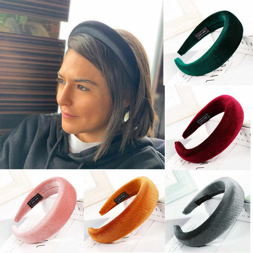 Sponge Velvet atriped Hairband solid wide edge head band Women simple Hair Head Hoop  all-matched повязка на голову hair accesso