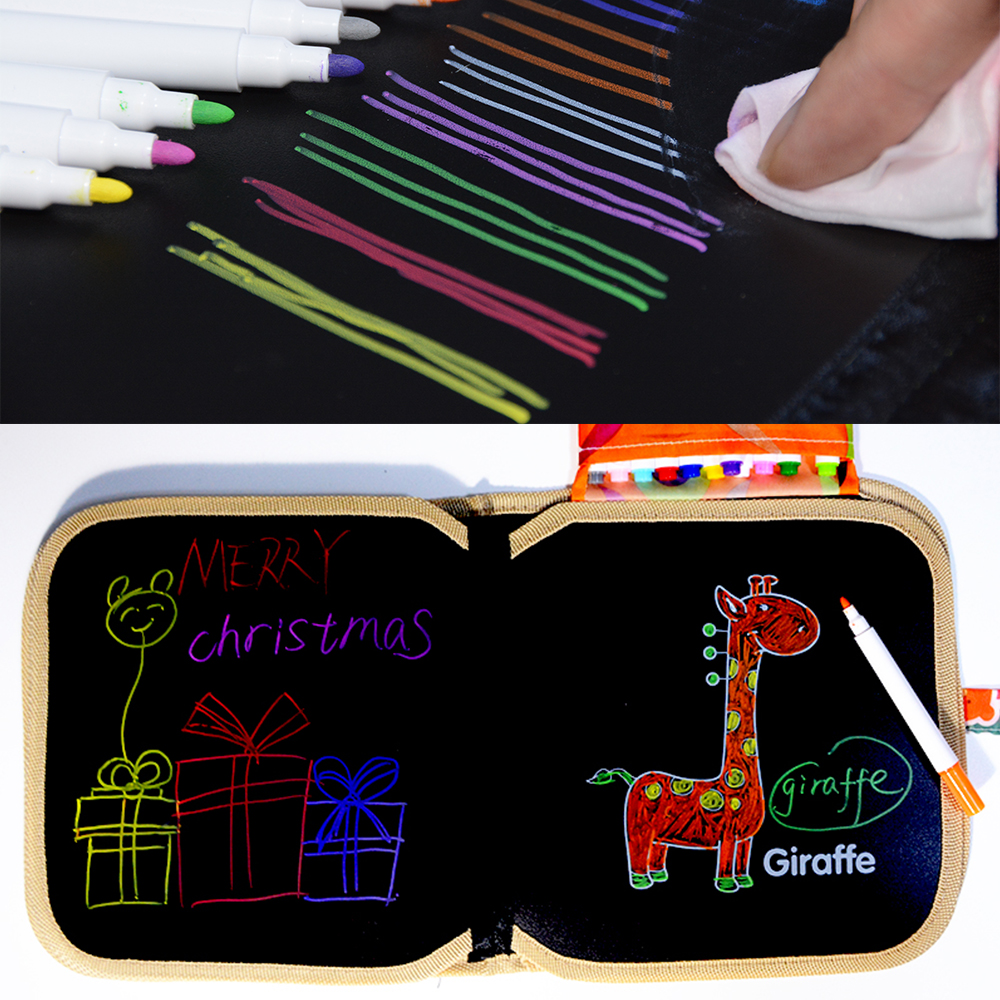 Waterproof Portable Painting Coloring Book Soft Chalk Magic Drawing Pad Board Toys +12 Pens  Christmas Gift For Kids