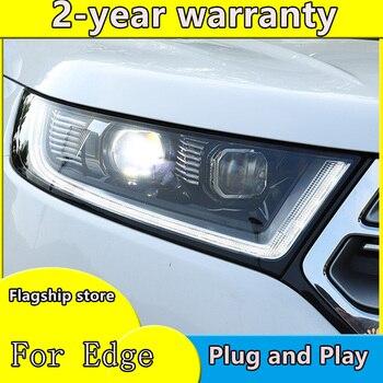 2PCS LED Headlights For ford Edge 2015-2018 Car Led Lights Double Xenon Lens Car Accessories Daytime Running Lights Fog Lights