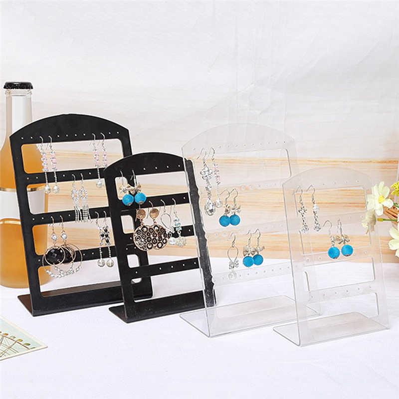 حامل عرض بلاستيكي المحمولة 24 ثقوب أقراط الأذن ترصيع أسود/واضح مجوهرات المنظم صندوق