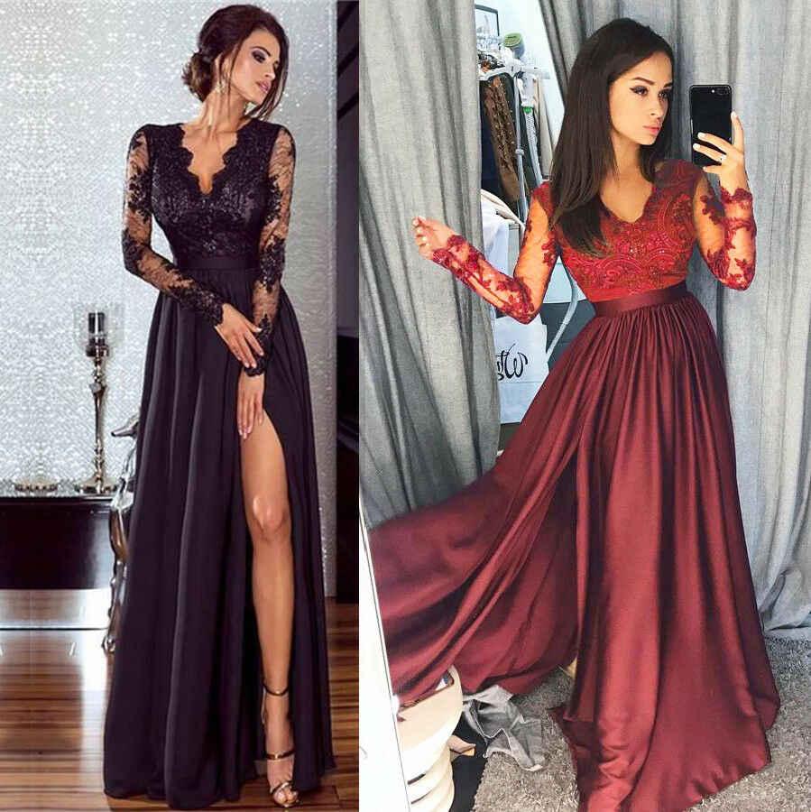 נשים אלגנטיות תחרה ערב המפלגה מקסי שמלת כדור שמלת פורמליות חתונה ארוך שמלת גבירותיי תחרה שרוול צווארון V שמלות Vestidos