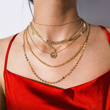 Exaggeration  Multilayer Coin Pendant Necklace for Women Sequin Arrow Clavicle Chain Choker Collar Statement Jewelry Gift retro women s exaggeration mixing crystal ball necklace pearl turquoises short clavicle chain statement choker necklace jewelry