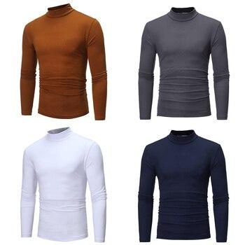 Camiseta térmica fina para hombre, camiseta de manga larga entallada de algodón con cuello medio y cuello alto para Otoño e Invierno