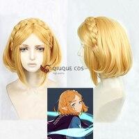 The Legend of Zelda: Breath of the Wild Princess Zelda Short Blonde Hair Heat Resistant Cosplay Costume Wigs + Wig Cap