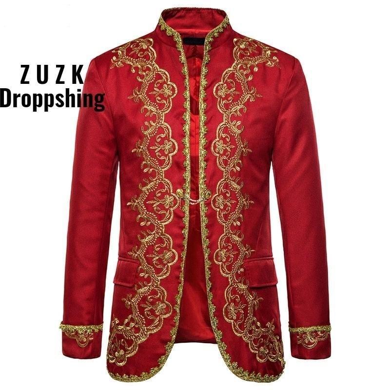Men Red Blazer Gold Embroidery Baroque Mens Blazer Luxury Dress Blazers Men Performance Stage Palace Costume Men Blazer Hombre