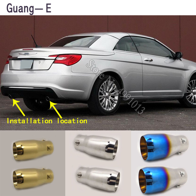 For Chrysler 200 2011-2018 car stickers muffler exterior back end pipe dedicate exhaust tip tail outlet ornament 2pcs 1