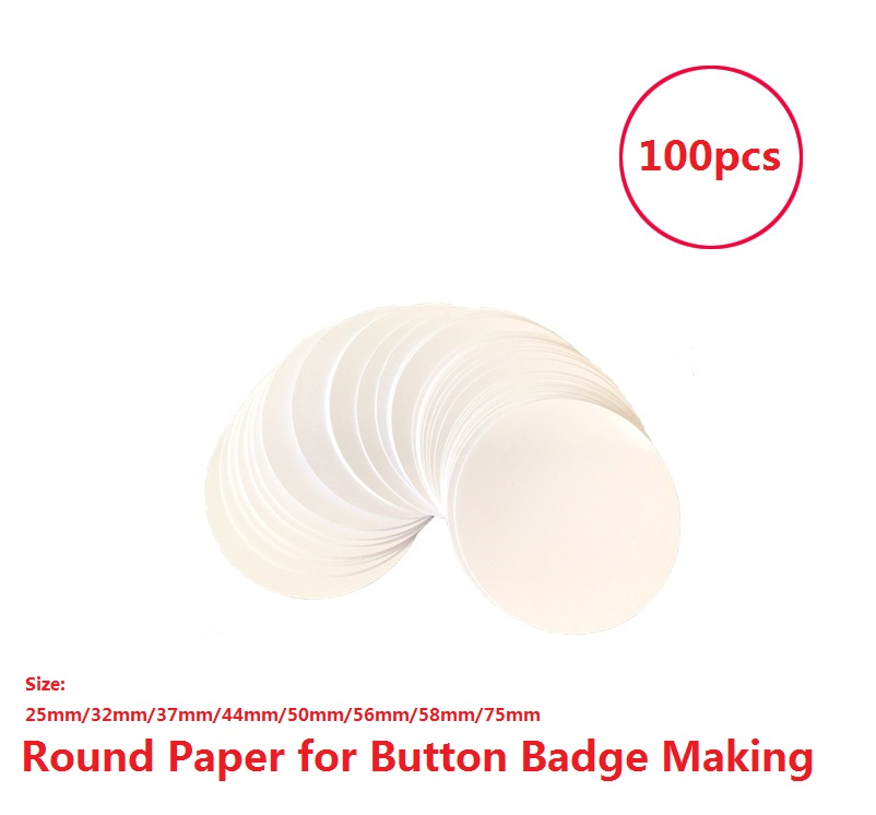 100pcs 25mm/32mm/37mm/44/56mm/50mm/58/75MM Circle Round Cutted Glossy Paper for Button badge making