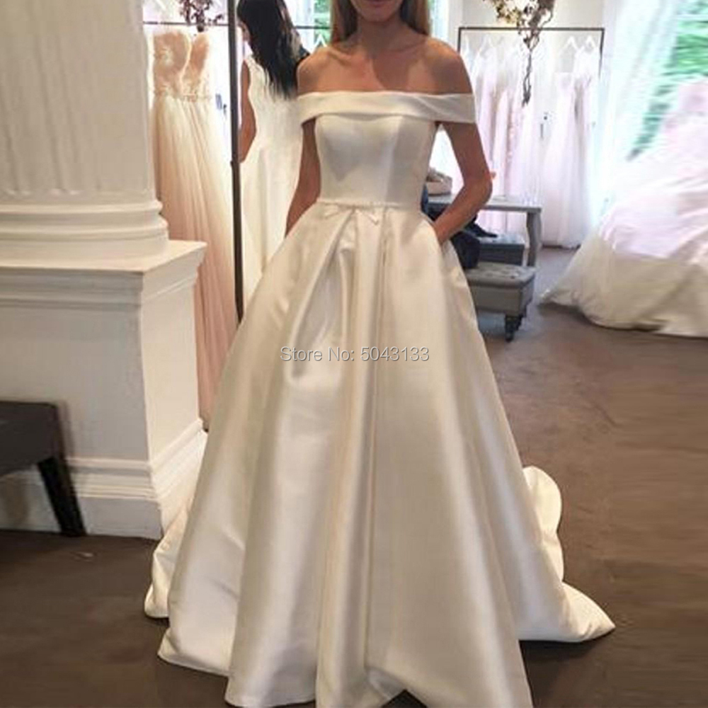 Elegant Satin A Line Wedding Dresses With Pockets Sexy Off The Shoulder Pleated Long Bridal Gowns 2020 Sweep Train Bride Dress
