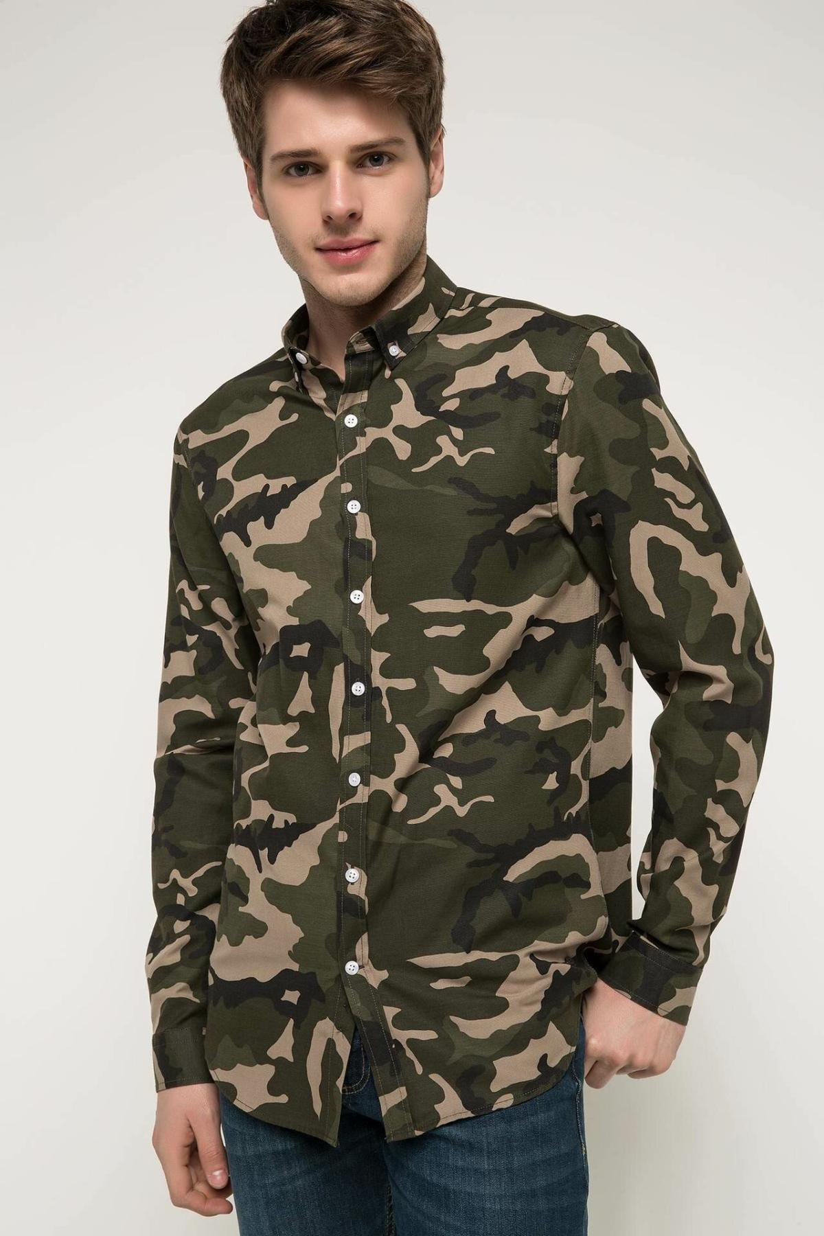 DeFacto Men Fashion Casual Camouflage Green Color Shirts Lapel Collar Male Shirts Male Slim Long Sleeves Tops New - I3484AZ18SP