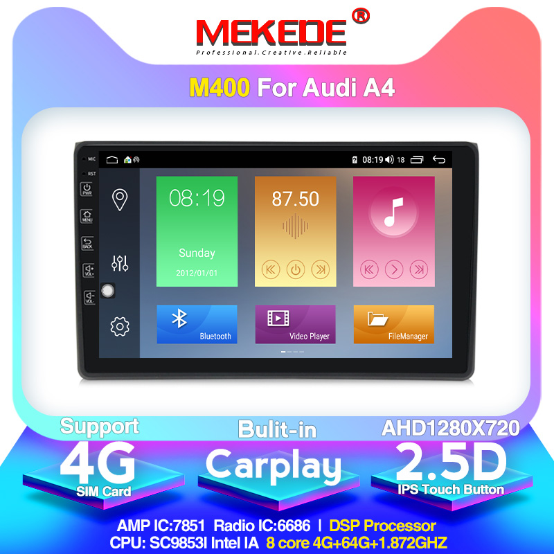 MEKEDE 4G RAM AHD 1280X720 Car GPS <font><b>Multimedia</b></font> player For For <font><b>Audi</b></font> <font><b>A4</b></font> <font><b>B6</b></font> B7 S4 B7 <font><b>B6</b></font> RS4 B7 SEAT Exeo support 4G SIM Card image
