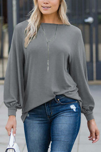 Image 3 - Louis jason nova camiseta feminina roupas quentes cor pura europeu gola redonda lanterna manga longa solta topo harajuku