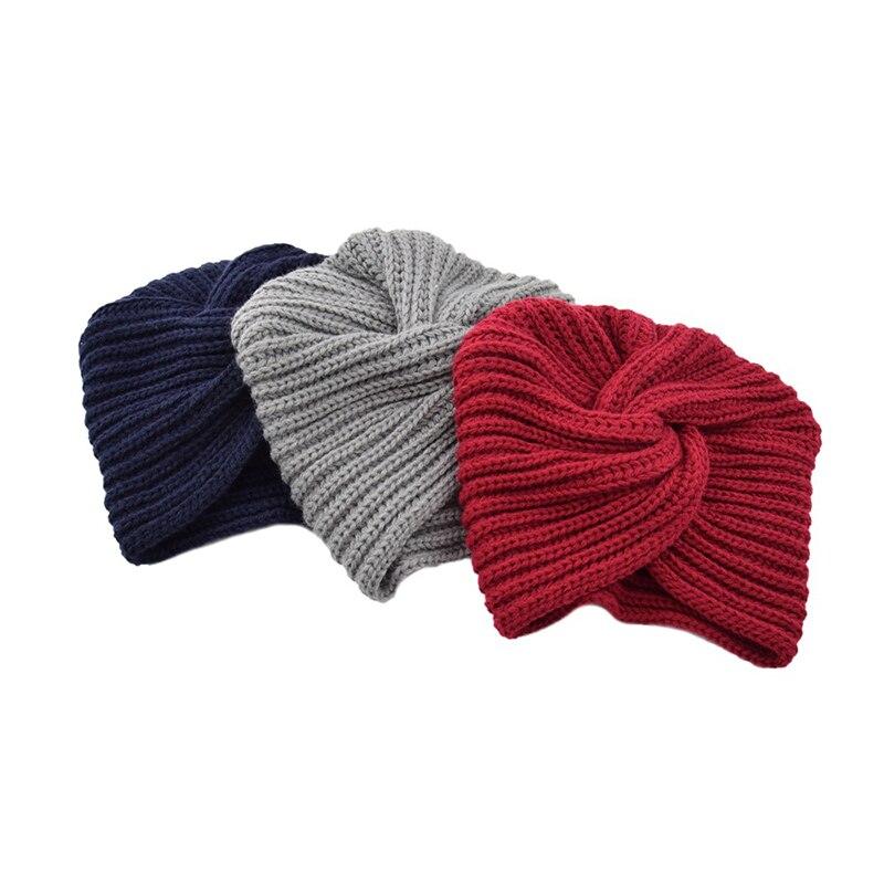 Bohomian Knitted Spring Winter Hat Women Knot Bandanas Twist Headwrap Knitting Warm Muslim Scarf Turban Cap  Cross Headscarf Hot