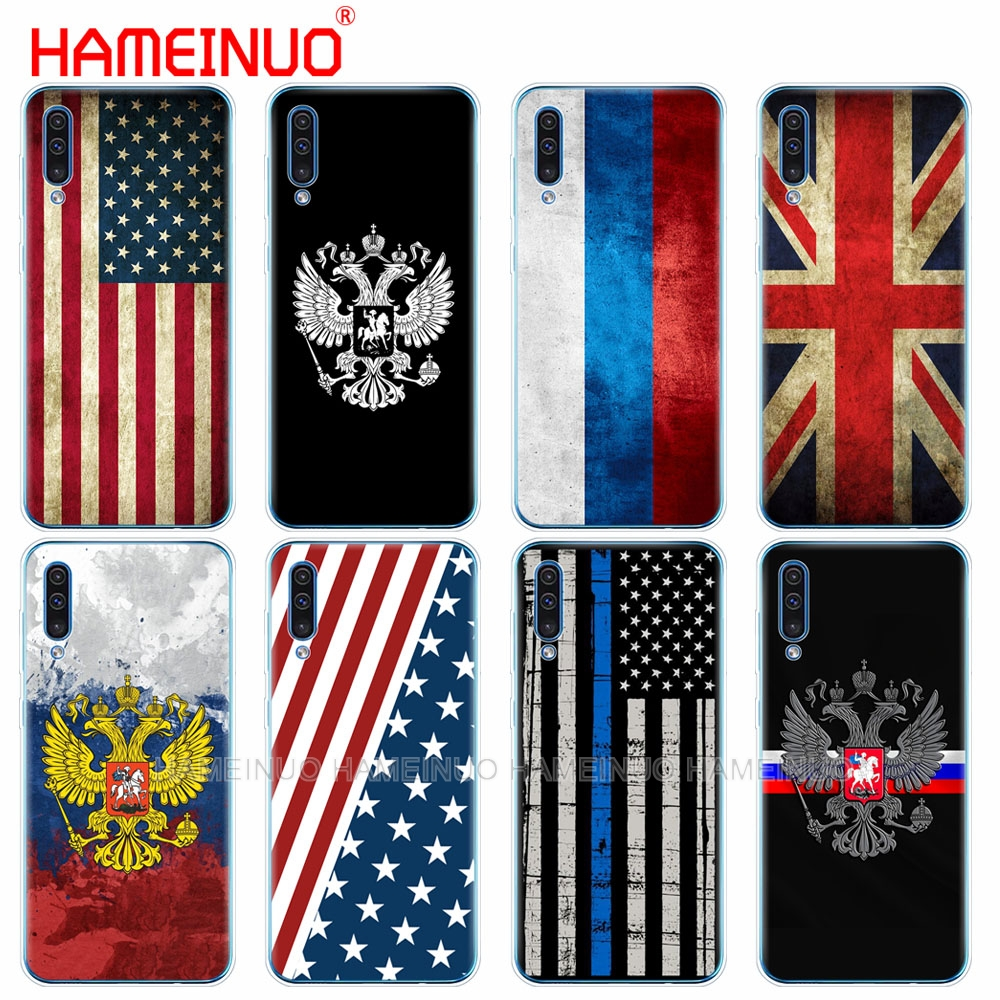 silicon phone cover case for <font><b>Samsung</b></font> Galaxy S10 E PLUS <font><b>A10</b></font> A20 A30 A40 A50 A70 A10E A20E M20 Russian American British <font><b>flag</b></font> image