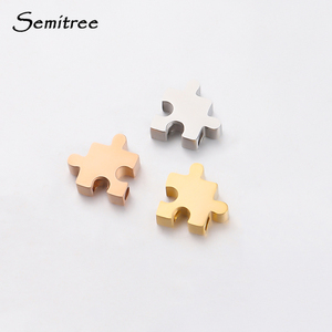 Semitree 5Pcs 10mm Stainless Steel Jigsaw Puzzle Beads for DIY Jewelry Making Spacer Bead Necklace Accessories Bracelet Findings(China)