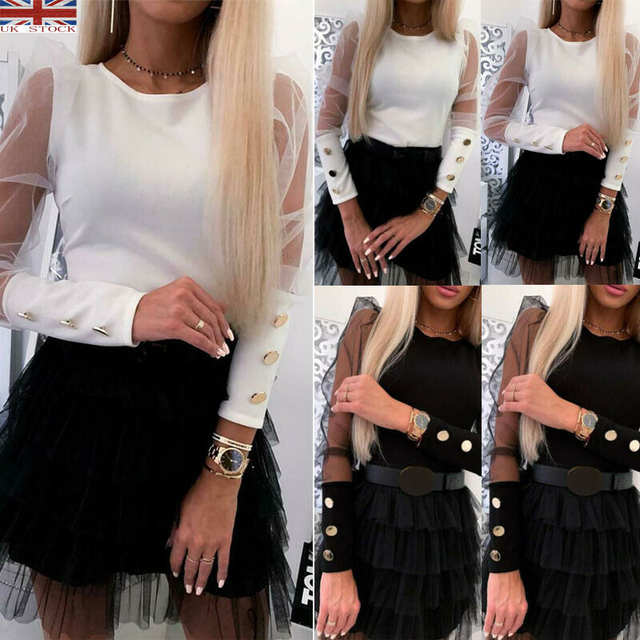 Womens Ladies Shoulder Detail Puff Sleeve Fine Knitted Jumper Sweater Top Shirt