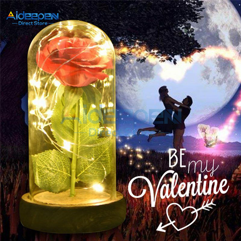 Beautiful Eternal Red Rose LED Light With Glass Dome For Wedding Party Valentine's Day Christmas Mother's Day Lovers Gift