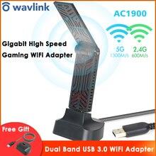 Wavlink AC1900 Dual Band USB 3.0 Wifi מתאם 1900Mbps 5.8G אלחוטי Wifi מקלט 2.4GHz WLAN רשת כרטיס עבור Windows Mac OS X