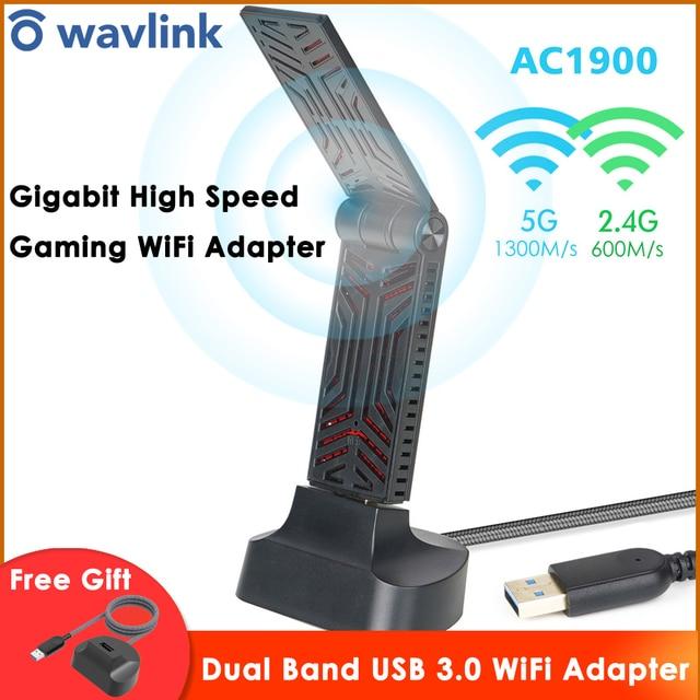 Wavlink AC1900 Dual Band USB 3.0 wifi adaptörü 1900Mbps 5.8G kablosuz wifi alıcısı 2.4GHz WLAN ağ kartı için Windows mac OS X