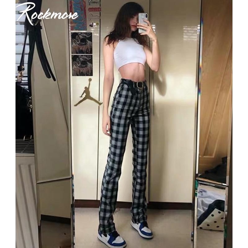 Rockmore Vintage Plaid Women Wide Leg Pants Pockets High Waist Trousers Plus Size Joggers Checkered Hip Hop Dance Pants Femme
