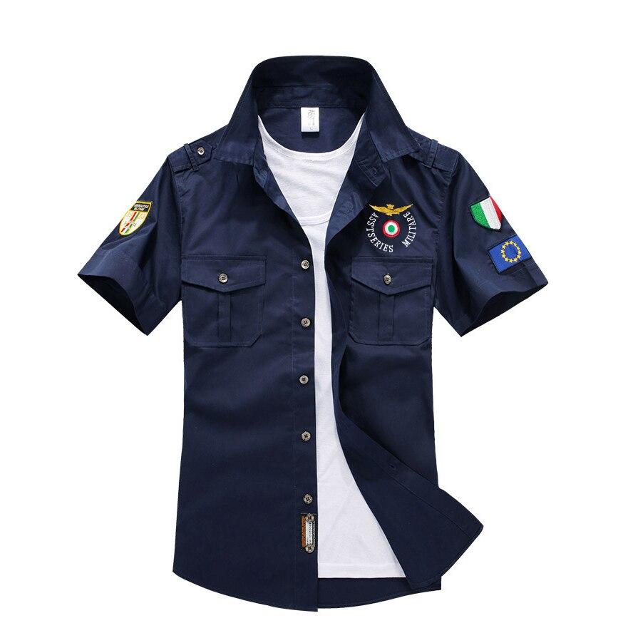Summer Mens Short Sleeve Cotton Aviator Shirt Men Shirts Solid Chemise Homme Aeronautica Militeare Mens Casual Shirt Men