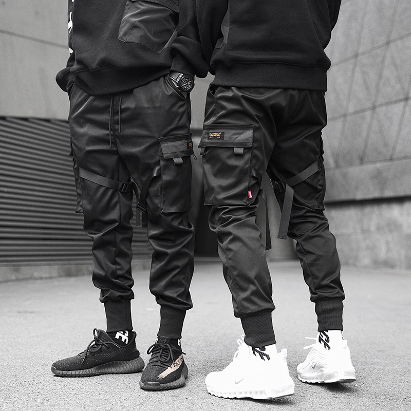 2019 Spring Hip Hop Joggers Men Black Harem Pants Multi-pocket Ribbons Man Sweatpants Streetwear Casual Mens Pencil Pants S-3XL