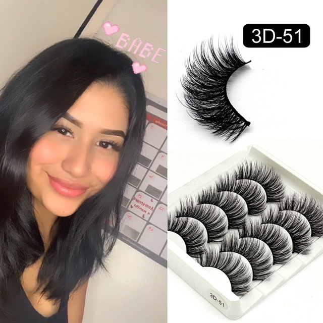 5 Packs False Eyelashes Extension Faux Cils 3D Mink Lashes Long Thick 15mm Natural Eye Lash Makeup Tools Wispy Lashes Wholesale 1
