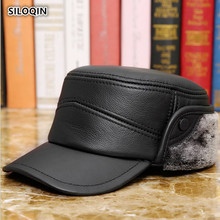 SILOQIN Genuine Leather Hat Middle-aged Elderly Men First Layer Cowhide Military Hats Winter Keep Warm Earmuffs Flat Cap dad hat