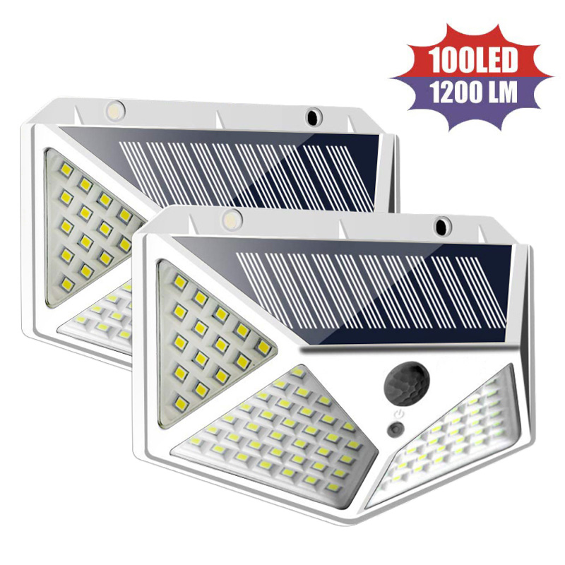 4/2pcs 100 LED Solar Light Outdoor Solar Lamp Powered Sunlight Waterproof PIR Motion Sensor Street Light Wall Light Garden Light