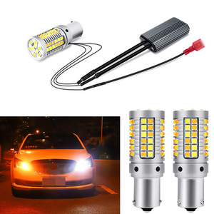 2PCS White+Amber DRL Auto Car Daytime Running Light Turn Signals Lamps PY21W BAU15S 1156 For Mercedes-Benz W210 W164