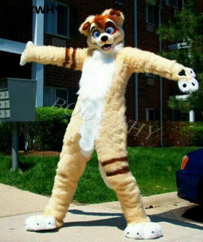 Unisex Long Fur White Husky Mascot Costume Fox Dog Suit Professional Parade Dres