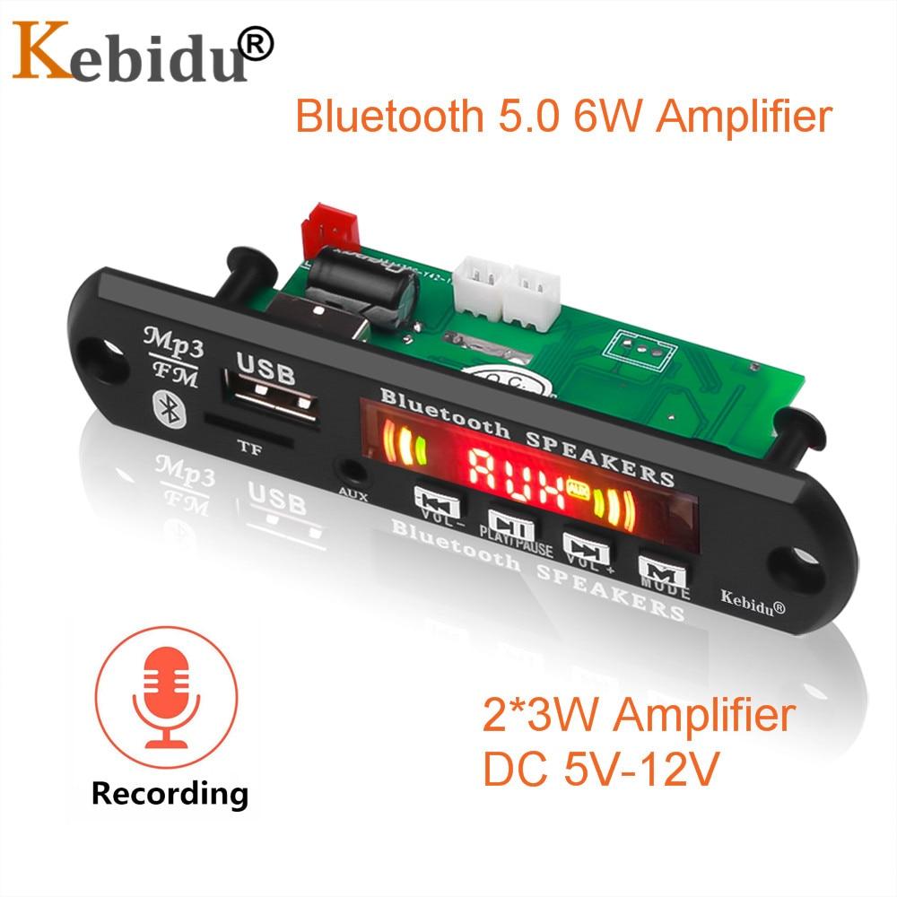 Hands-free Bluetooth 5.0 6W Amplifier MP3 Player Decoder Board 5V 12V Car FM Radio Module Support FM TF USB AUX Audio Record