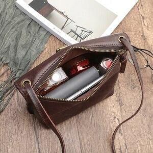 Image 4 - MJ لينة جلد طبيعي المرأة حقيبة ساعي الإناث الجلد الحقيقي Crossbody حقائب كتف حقيبة يد صغيرة الرجعية حقيبة الهاتف للفتيات